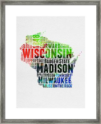 Wisconsin Watercolor Word Cloud Map  Framed Print by Naxart Studio
