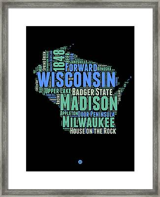 Wisconsin Word Cloud Map 1 Framed Print by Naxart Studio