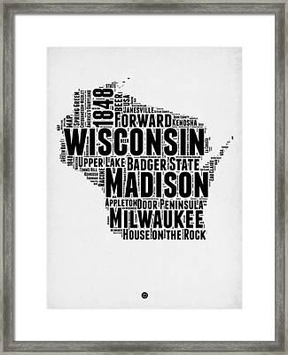 Wisconsin Word Cloud Map 2 Framed Print by Naxart Studio