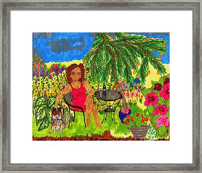 With Rudy In The Garden Framed Print by Stacey Torres