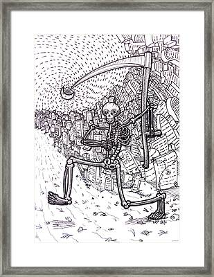 Death - With A Smile And A Scythe Original Black And White Pen Art By Rune Larsen Framed Print by Rune Larsen