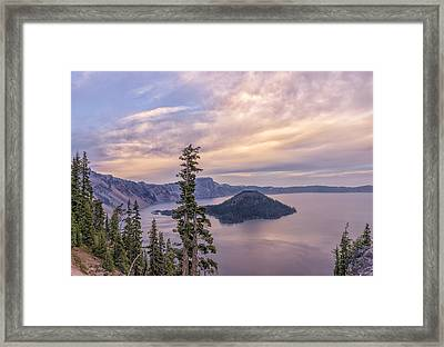 Wizard Island Sunset Framed Print by Loree Johnson