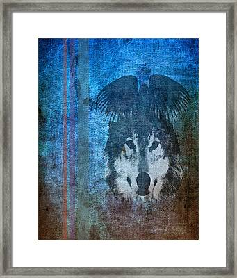 Wolf And Raven Framed Print by Thomas M Pikolin