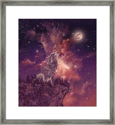 Wolf And Sky Red Framed Print by Bekim Art
