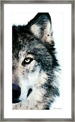 Wolf Art - Timber Framed Print by Sharon Cummings