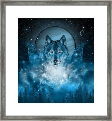 Wolf In Blue Framed Print by Bekim Art