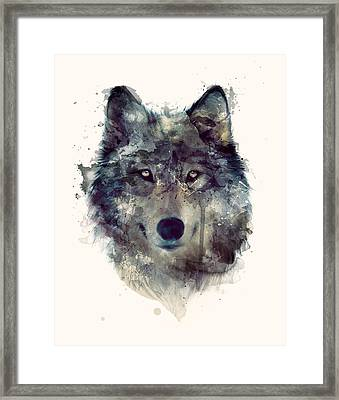 Wolf // Persevere Framed Print by Amy Hamilton