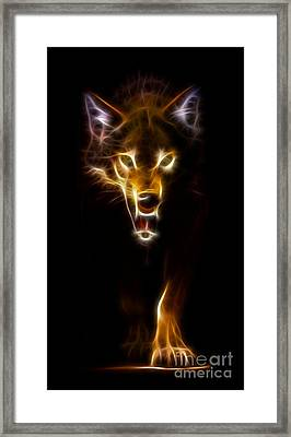 Wolf Ready To Attack Framed Print by Pamela Johnson
