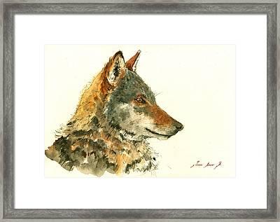 Wolf Watercolor Framed Print by Juan  Bosco