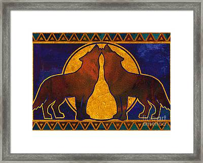 Wolves Howling At The Moon Framed Print by Linda Henry