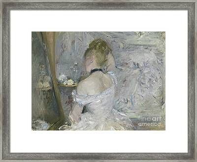 Woman At Her Toilette Framed Print by Berthe Morisot