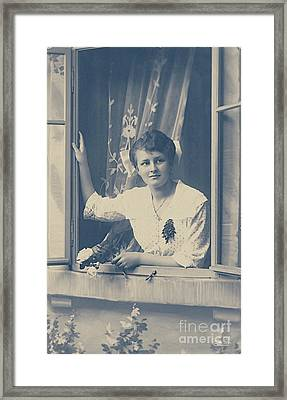 Woman At The Window Framed Print by Jutta Maria Pusl
