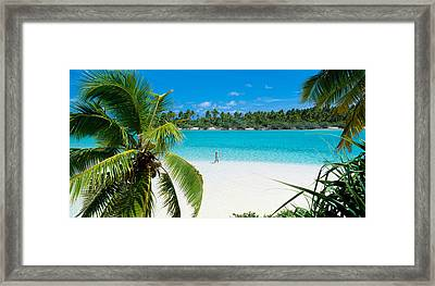 Woman Beach One Foot Island Cook Islands Framed Print by Panoramic Images