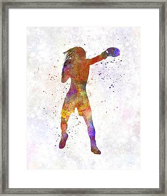 Woman Boxer Boxing Kickboxing Silhouette Isolated 03 Framed Print by Pablo Romero