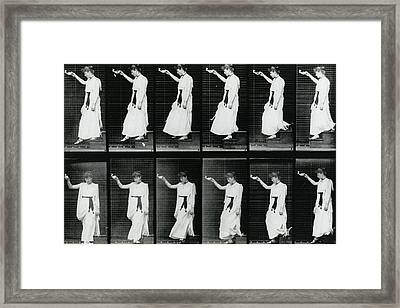 Woman Descending A Stairway Framed Print by Eadweard Muybridge