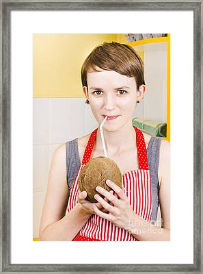 Woman Drinking Natural Coconut Framed Print by Jorgo Photography - Wall Art Gallery