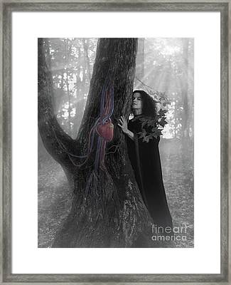 Woman Druid Listening To Heartbeat Of The Tree Black And White Framed Print by Awen Fine Art Prints