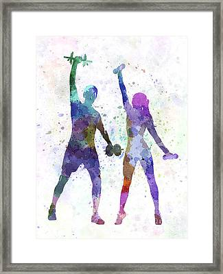Woman Exercising With Man Coach Framed Print by Pablo Romero