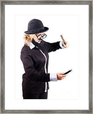 Woman Hitting Her Phone With Hammer Framed Print by Jorgo Photography - Wall Art Gallery