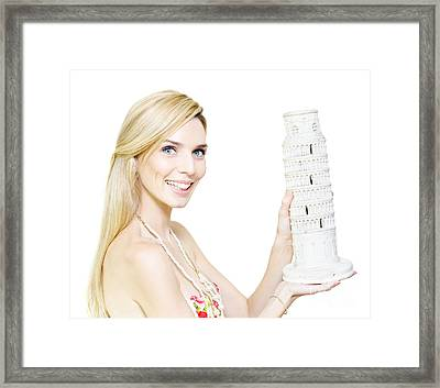 Woman Holding The Leaning Tower Of Pisa Framed Print by Jorgo Photography - Wall Art Gallery