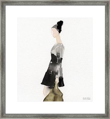 Woman In A Black And Gray Dress Fashion Illustration Art Print Framed Print by Beverly Brown