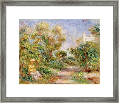 Woman In A Landscape Framed Print by Renoir