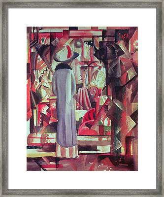 Woman In Front Of A Large Illuminated Window Framed Print by August Macke