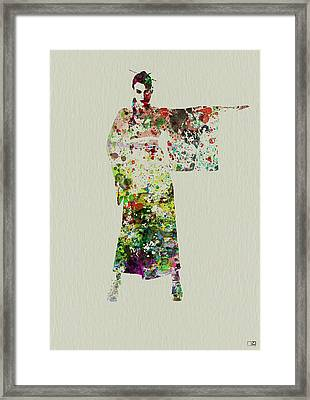 Woman In Kimono Framed Print by Naxart Studio