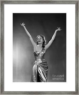 Woman In Metallic Dress, C.1950s Framed Print by Debrocke/ClassicStock