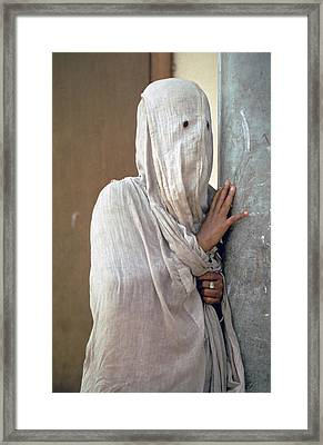 Woman In Purdah Framed Print by Carl Purcell