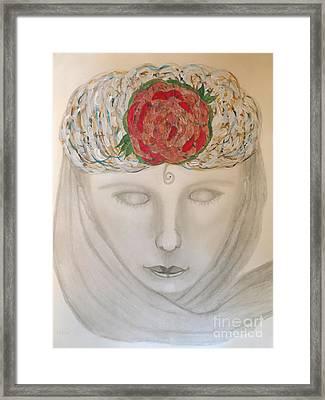 Woman In Scarf Framed Print by Nancy TeWinkel Lauren