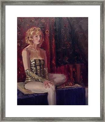 Woman In Sequins Framed Print by Mary Marin