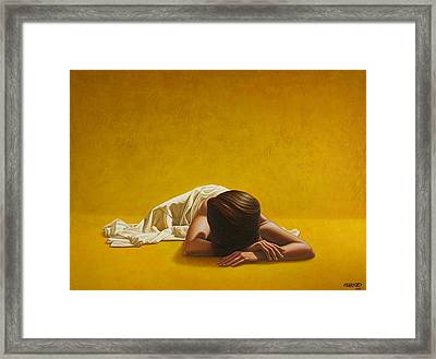 Woman In Yellow Framed Print by Horacio Cardozo