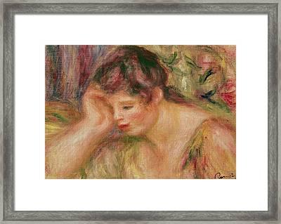 Woman Leaning Framed Print by Pierre Auguste Renoir