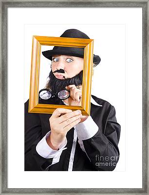 Woman Looking Through Frame Framed Print by Jorgo Photography - Wall Art Gallery