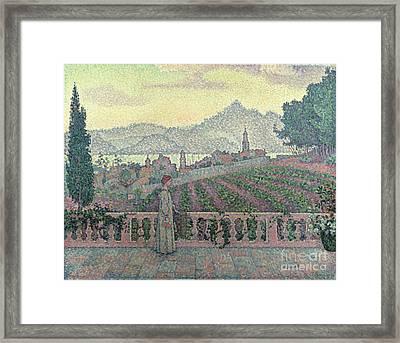 Woman On The Terrace Framed Print by Paul Signac