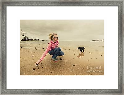 Woman Playing With Dog Framed Print by Jorgo Photography - Wall Art Gallery