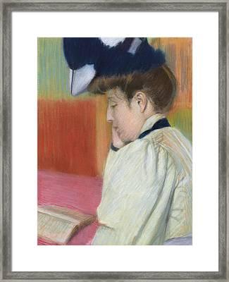 Woman Reading Framed Print by Federigo Zandomeneghi