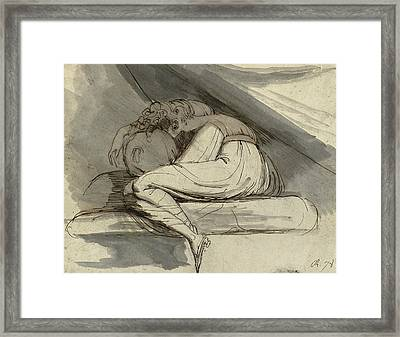 Woman Sitting Curled Up Framed Print by Henry Fuseli