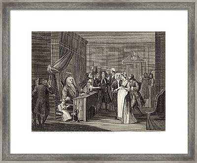 Woman Swearing A Child To A Grave Framed Print by Vintage Design Pics