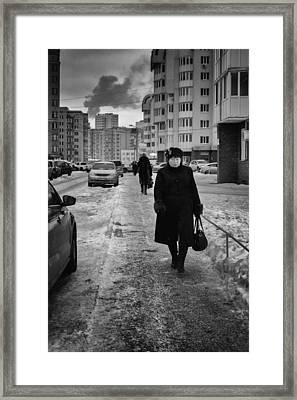 Woman Walking On Path In Russia Framed Print by John Williams
