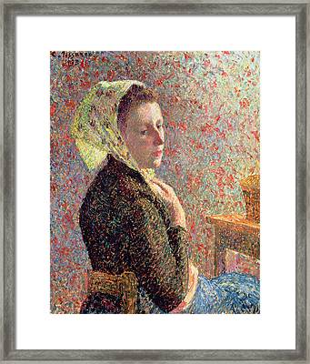 Woman Wearing A Green Headscarf Framed Print by Camille Pissarro