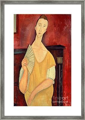 Woman With A Fan Framed Print by Amedeo Modigliani