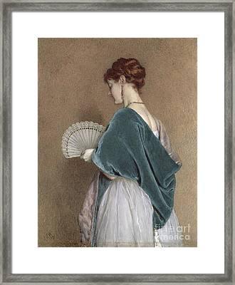 Woman With A Fan Framed Print by John Dawson Watson
