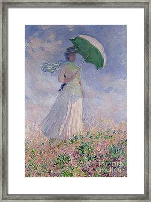 Woman With A Parasol Turned To The Right Framed Print by Claude Monet