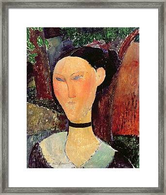 Woman With A Velvet Neckband Framed Print by Amedeo Modigliani
