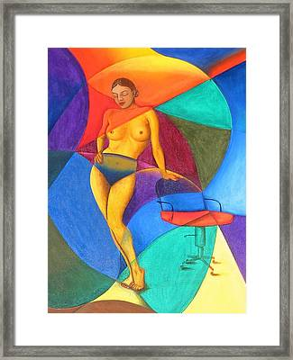 Woman With Chair Framed Print by Mak Art