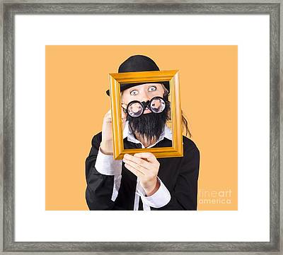 Woman With Empty Picture Frame Framed Print by Jorgo Photography - Wall Art Gallery
