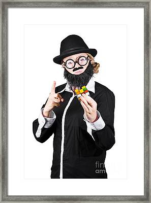 Woman With False Beard And Mustache Holding Cube Puzzle Framed Print by Jorgo Photography - Wall Art Gallery