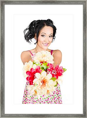 Woman With Flower Arrangement. Valentines Day Gift Framed Print by Jorgo Photography - Wall Art Gallery